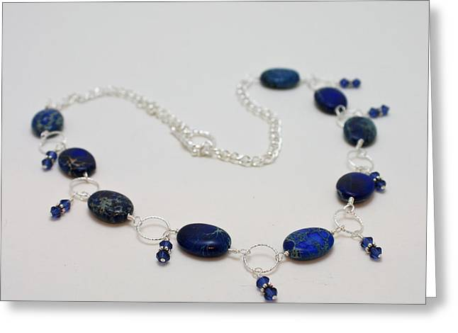 Lit Jewelry Greeting Cards - 3589 Blue Sea Sediment Jasper Necklace Greeting Card by Teresa Mucha