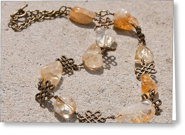 Wirework Jewelry Greeting Cards - 3591 Citrine Nugget and Antiqued Brass Necklace Greeting Card by Teresa Mucha