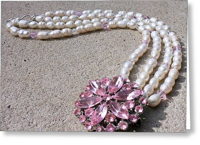 Pretty Jewelry Greeting Cards - 3594 Freshwater Pearl and Vintage Rhinestone Brooch Necklace Greeting Card by Teresa Mucha