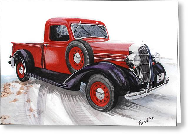 Classic Pickup Paintings Greeting Cards - 36 Dodge Greeting Card by Ferrel Cordle