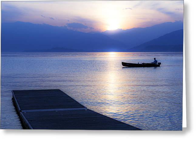 Blue Hour Greeting Cards - Lake Maggiore Greeting Card by Joana Kruse