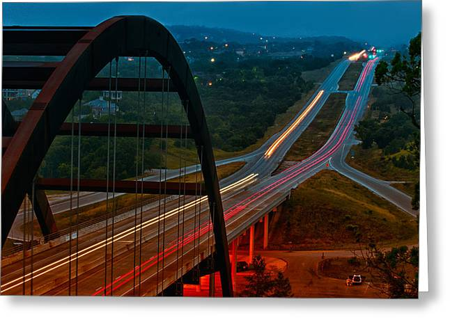 Landmark And Bridges Greeting Cards - 360 Bridge Morning Traffic Greeting Card by Lisa  Spencer