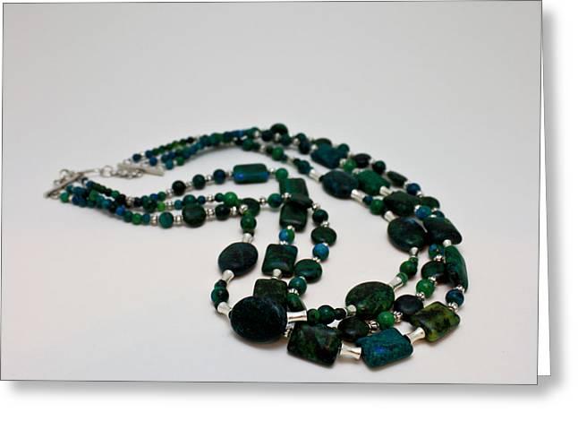 Handmade Jewelry Jewelry Greeting Cards - 3609 Australian Jasper Triple Strand Necklace Greeting Card by Teresa Mucha