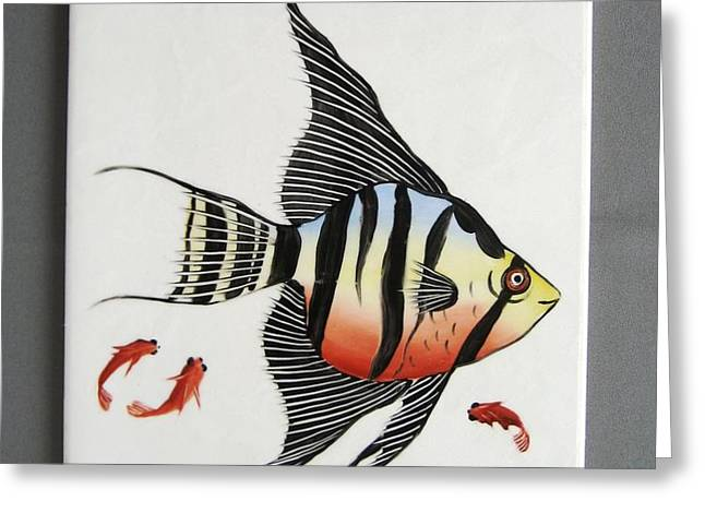 361 Tile with Fishes Greeting Card by Wilma Manhardt