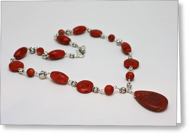 Lit Jewelry Greeting Cards - 3611 Red Coral and Indonesian Coral Pendant Necklace  Greeting Card by Teresa Mucha