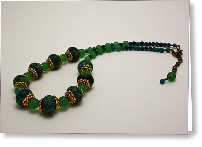 Bead Jewelry Greeting Cards - 3616 Austrailian Jasper and Adventurine Necklace Greeting Card by Teresa Mucha