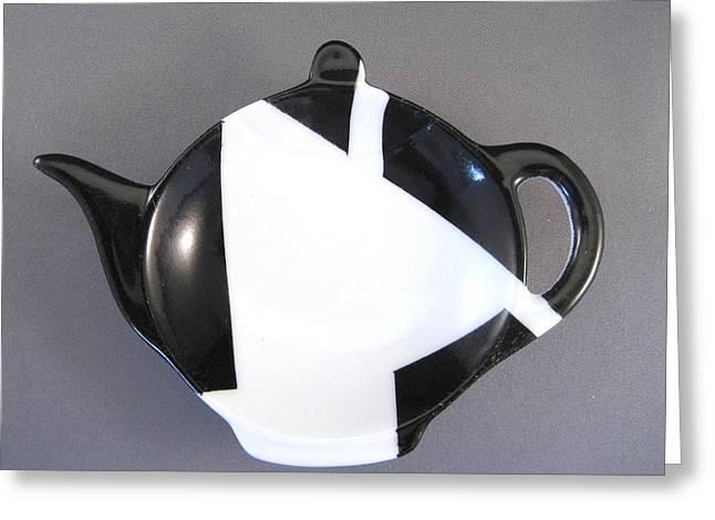 Modern Ceramics Greeting Cards - 367 Teabag Holder black white Greeting Card by Wilma Manhardt