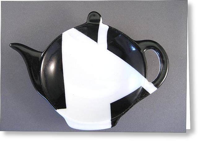 367 Teabag Holder black white Greeting Card by Wilma Manhardt