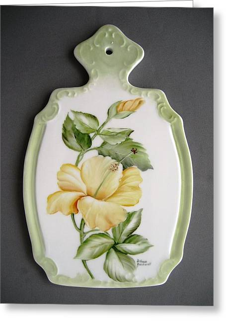 Cheeses Ceramics Greeting Cards - 369 Hybiscus Cheese board Greeting Card by Wilma Manhardt
