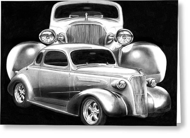 Charcoal Car Greeting Cards - 37 Double C Greeting Card by Peter Piatt