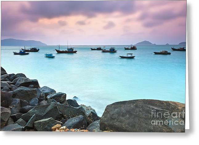 Caribbean Port Greeting Cards - Sunrise Greeting Card by MotHaiBaPhoto Prints