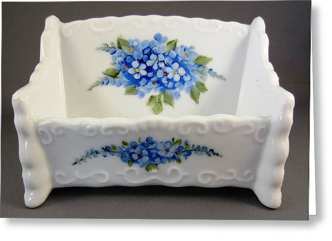 Forgotten Ceramics Greeting Cards - 377 Cardholder with forget-me-nots Greeting Card by Wilma Manhardt