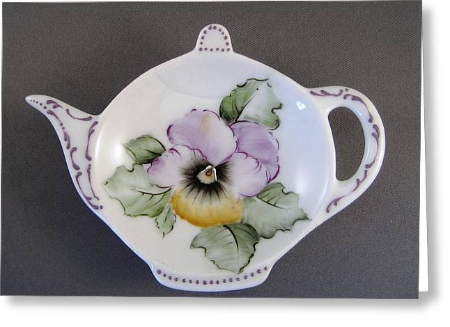 Purples Ceramics Greeting Cards - 381 Teabag Holder with Pansy Greeting Card by Wilma Manhardt