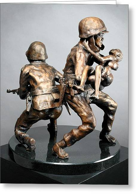 Rescue Sculptures Greeting Cards - 38th Parallel Greeting Card by Eduardo Gomez
