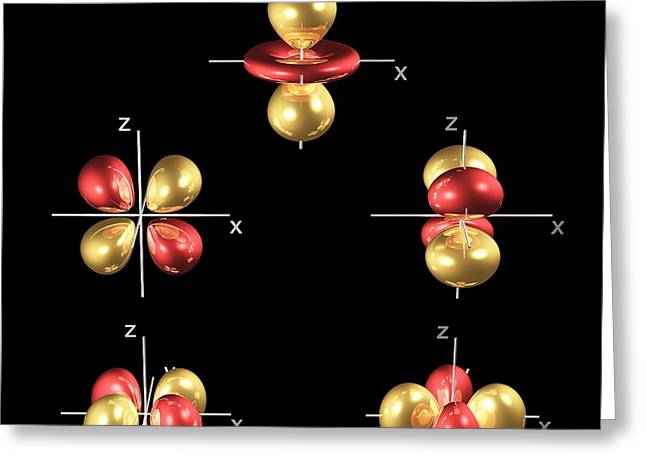 3d Electron Orbitals Greeting Card by Dr Mark J. Winter