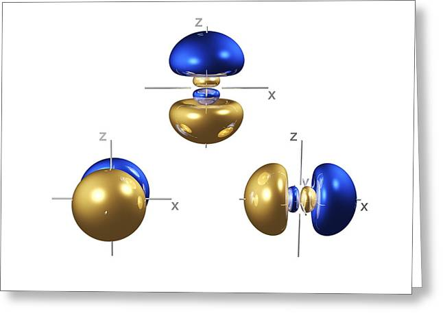 Electron Orbital Greeting Cards - 3p Electron Orbitals Greeting Card by Dr Mark J. Winter