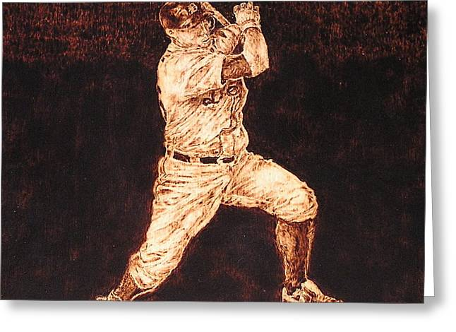 Baseball Pyrography Greeting Cards - 3rd. Base Greeting Card by Dan LaTour