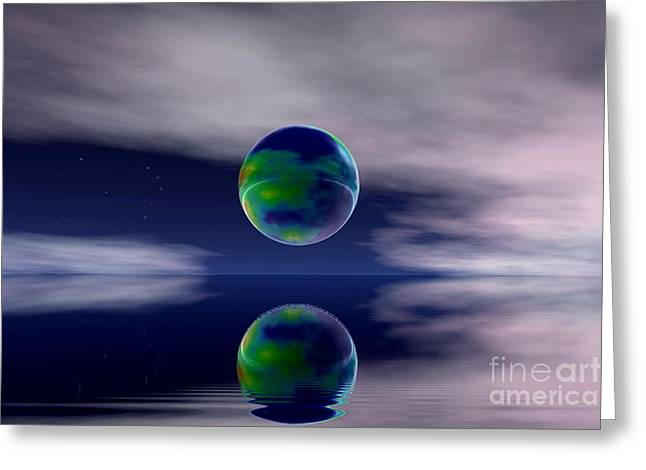 Sweating Digital Art Greeting Cards -  Planet reflection Greeting Card by Odon Czintos