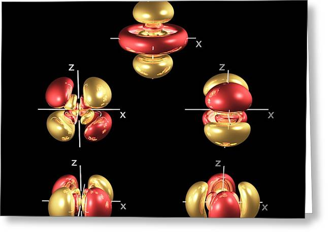 5d Greeting Cards - 5d Electron Orbitals Greeting Card by Dr Mark J. Winter