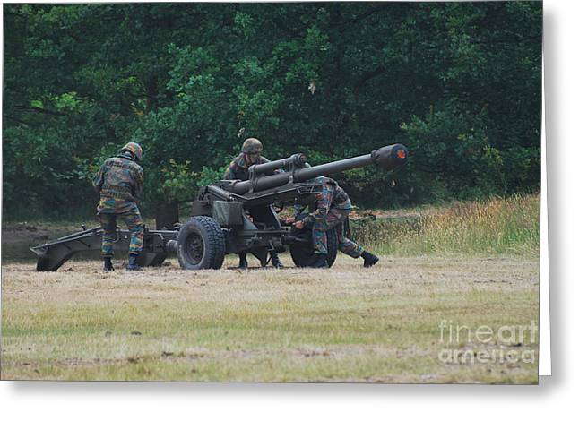 A Belgian Artillery Unit Setting Greeting Card by Luc De Jaeger