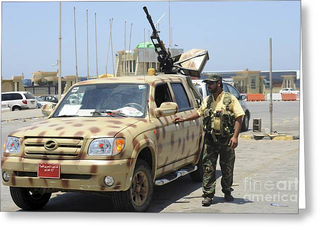 Liberation Greeting Cards - A Free Libyan Army Pickup Truck Greeting Card by Andrew Chittock