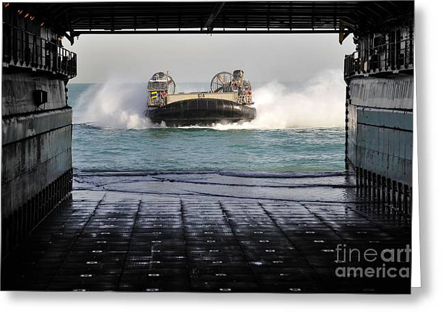 Landing Craft Greeting Cards - A Landing Craft Air Cushion Prepares Greeting Card by Stocktrek Images