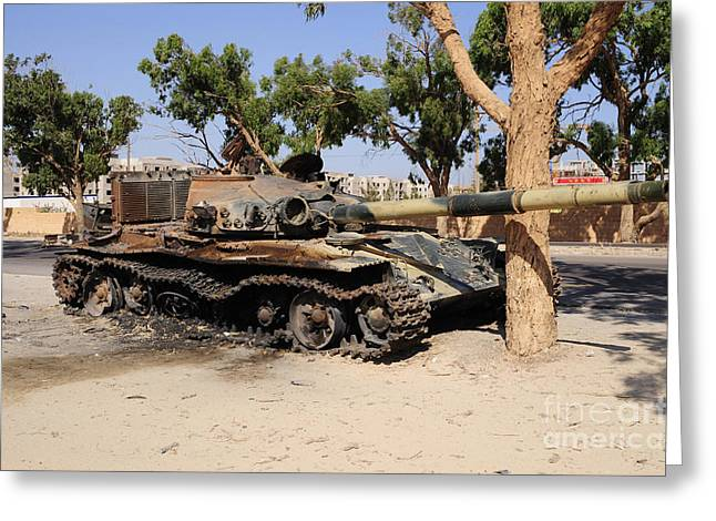 Liberation Greeting Cards - A T-72 Tank Destroyed By Nato Forces Greeting Card by Andrew Chittock