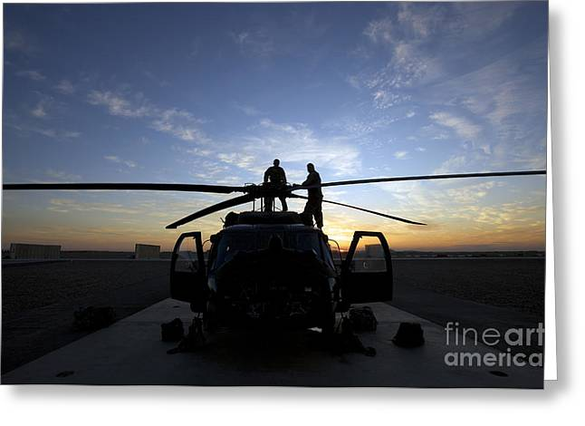 Uh-60 Greeting Cards - A Uh-60 Black Hawk Helicopter Greeting Card by Terry Moore