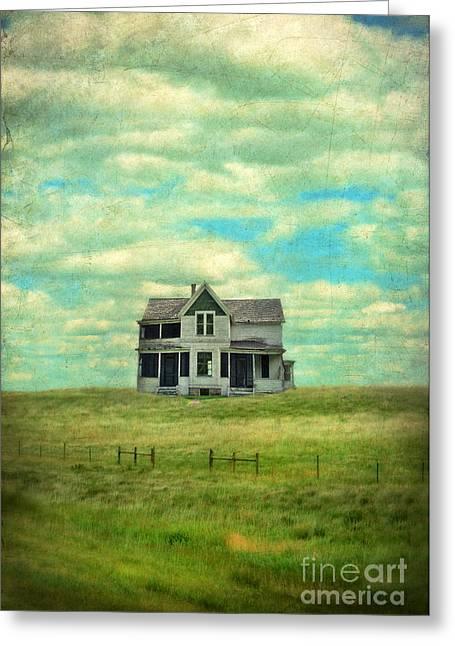 Clapboard House Greeting Cards - Abandoned Farmhouse Greeting Card by Jill Battaglia