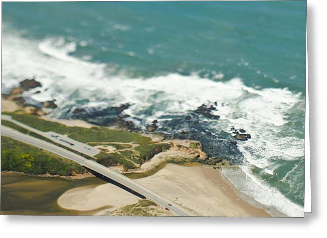 Cultivation Greeting Cards - Aerial View of a Coastal Road Greeting Card by Eddy Joaquim