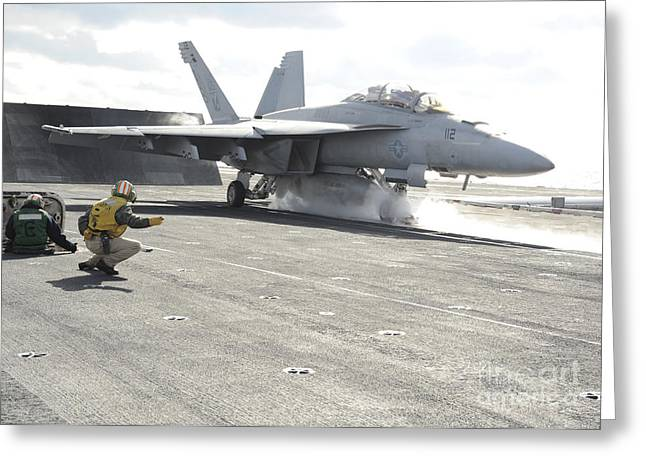 Enterprise Greeting Cards - An Fa-18f Super Hornet Launches Greeting Card by Stocktrek Images
