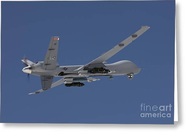Airborne Greeting Cards - An Mq-9 Reaper Flies A Training Mission Greeting Card by HIGH-G Productions