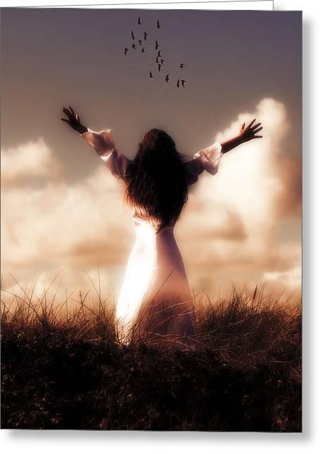 Back Bird Greeting Cards - Angel Greeting Card by Joana Kruse