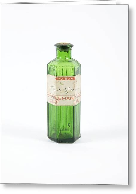 Glass Bottle Greeting Cards - Antique Pharmacy Bottle Greeting Card by Gregory Davies, Medinet Photographics