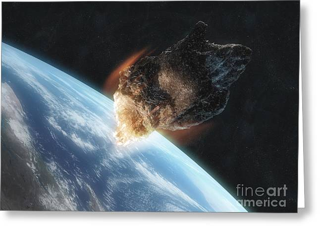 Cataclysm Greeting Cards - Asteroid In Front Of The Earth Greeting Card by Carbon Lotus
