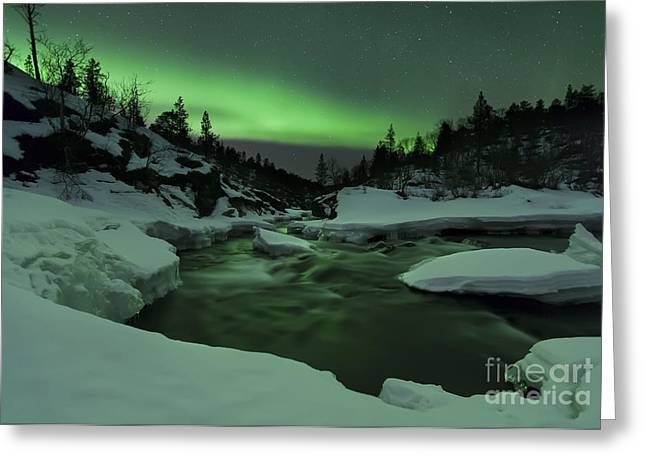 Recently Sold -  - Illuminate Greeting Cards - Aurora Borealis Over Tennevik River Greeting Card by Arild Heitmann