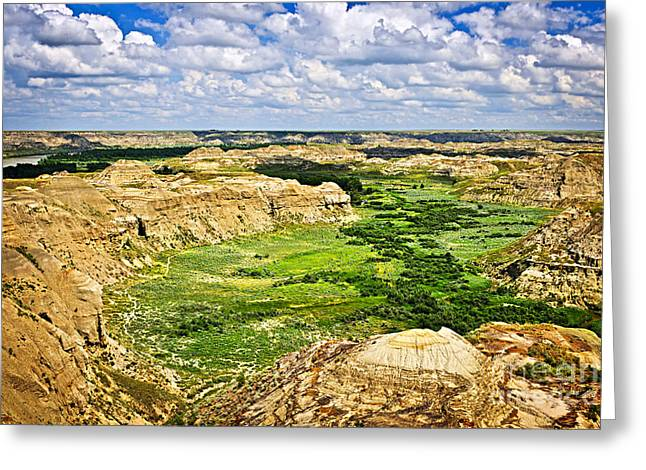 Red Deer Greeting Cards - Badlands in Alberta Greeting Card by Elena Elisseeva