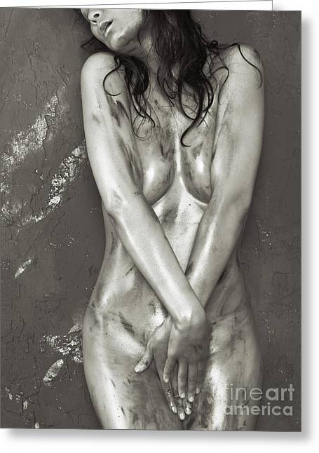 Flesh Tones Greeting Cards - Beautiful Soiled Naked Womans Body Greeting Card by Oleksiy Maksymenko