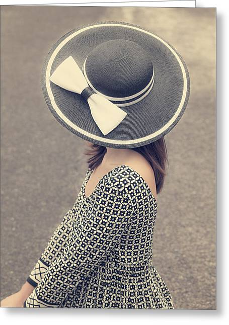 Sun Hat Greeting Cards - Black And White Greeting Card by Joana Kruse