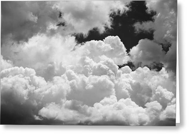 Overcast Day Greeting Cards - Black And white Sky With Building Storm Clouds Fine Art Print Greeting Card by Keith Webber Jr