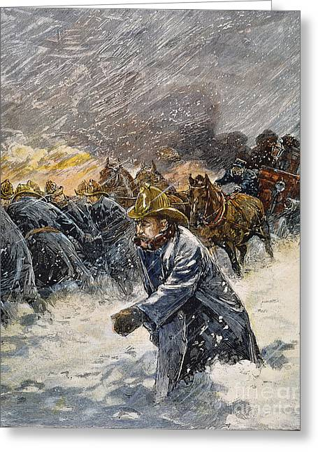 Blizzard Scenes Greeting Cards - Blizzard Of 1888, Nyc Greeting Card by Granger