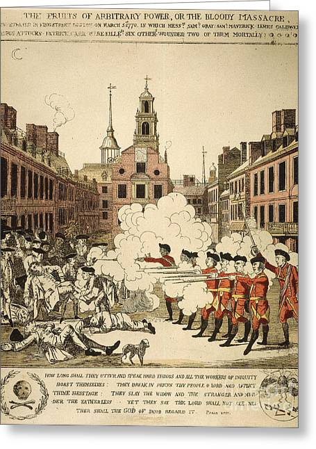 Redcoat Greeting Cards - Boston Massacre, 1770 Greeting Card by Granger