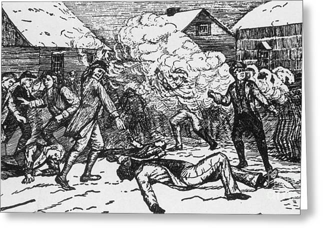 Ex-slave Greeting Cards - Boston Massacre, 1770 Greeting Card by Photo Researchers