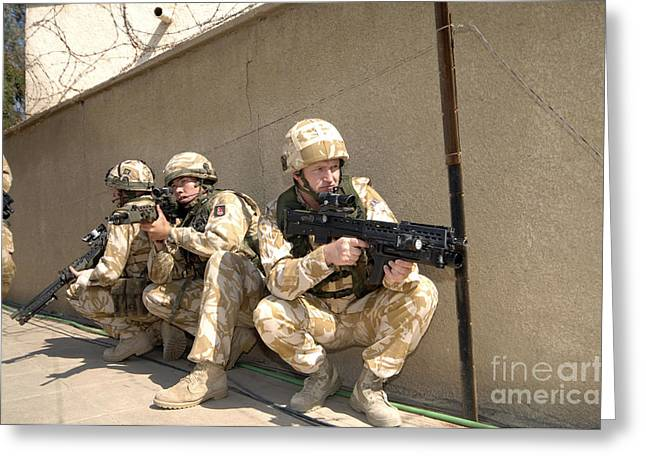 Iraq Greeting Cards - British Troops Training In Iraq Greeting Card by Andrew Chittock