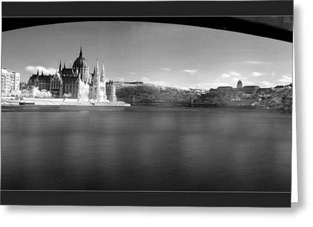 Historic Statue Greeting Cards - Budapest panoramic Greeting Card by Odon Czintos