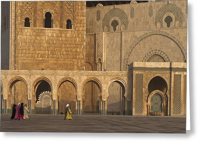 Moroccan Courtyard Greeting Cards - Casablanca, Morocco Greeting Card by Axiom Photographic