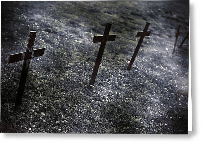 Cross On The Grave Greeting Cards - Cemetery Greeting Card by Joana Kruse