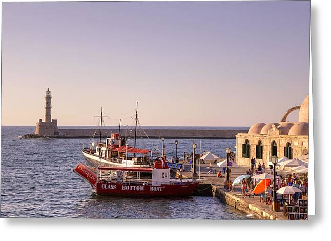Boats In Harbor Greeting Cards - Chania - Crete Greeting Card by Joana Kruse