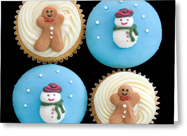 Frosting Greeting Cards - Christmas cupcakes Greeting Card by Ruth Black