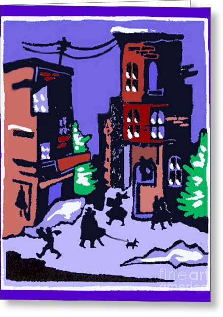 Christmas Street Scene Greeting Card by Elinor Mavor